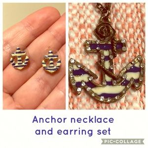 Betsey Johnson earrings with anchor necklace